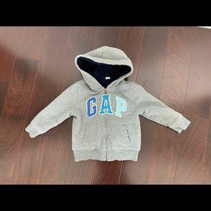 Gap sherpa hooded zipper jacket in grey, size 4T